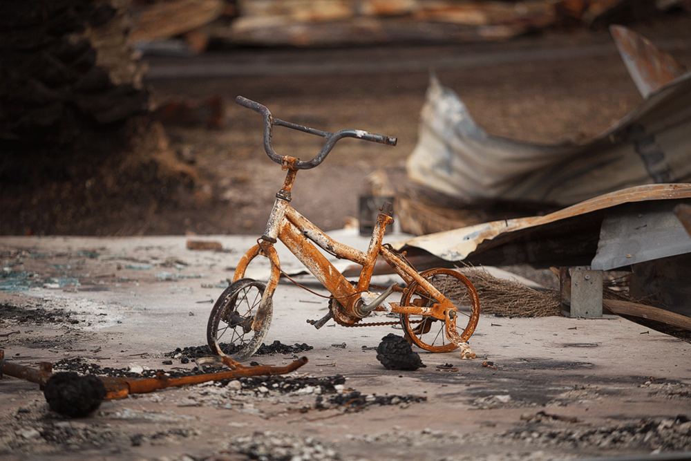 bicycle burnt after fire